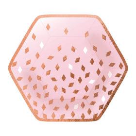 Tanjiri rose gold šare 23cm - 8 kom