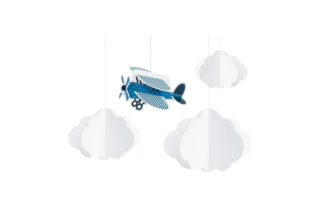 Viseća dekoracija avion i oblaci - 4 kom