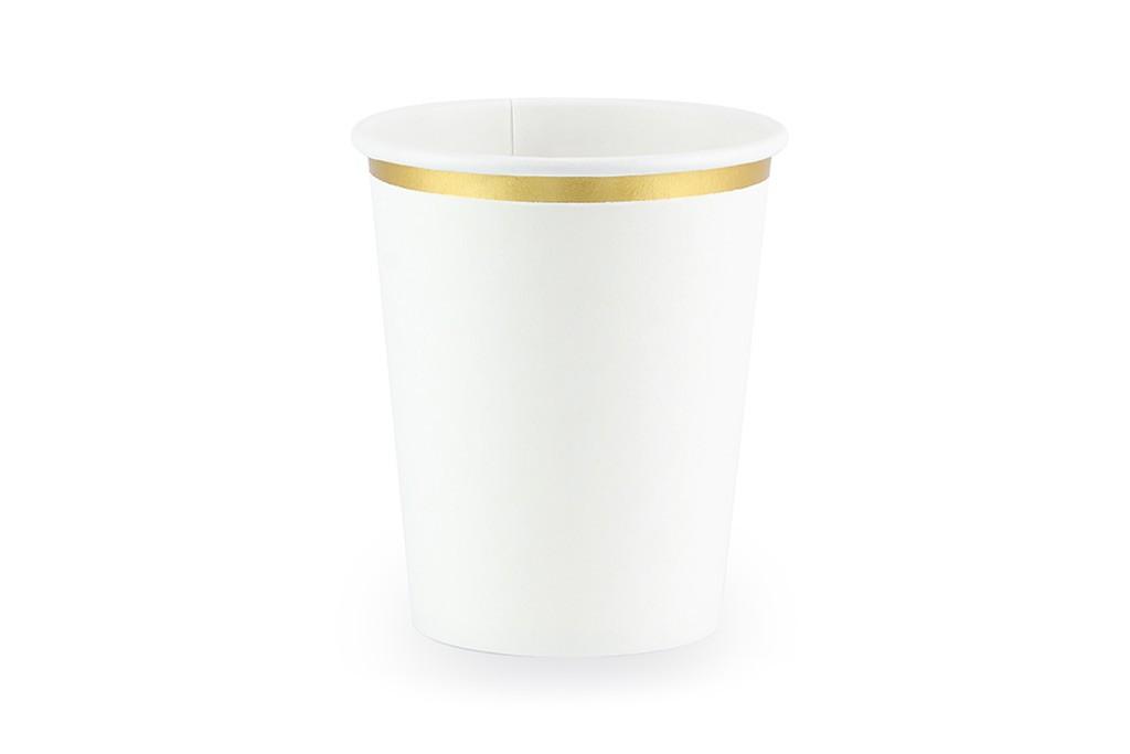 Čaše bele sa zlatnom ivicom 260ml - 6 kom