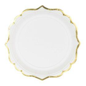 Tanjiri beli sa zlatnom ivicom 18.5cm - 6 kom