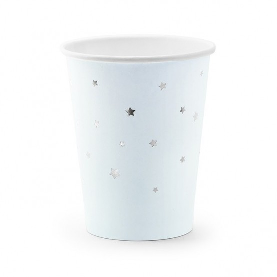 Čaše srebrne zvezde 260ml - 6 kom