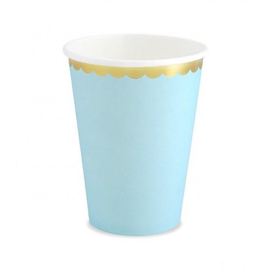 Čaše plave sa zlatnom ivicom 220ml - 6 kom