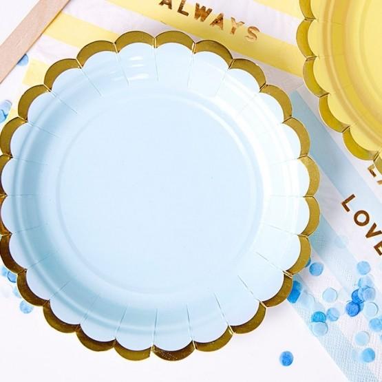 Tanjiri plavi sa zlatnom ivicom 18cm - 6 kom