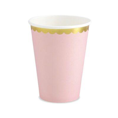 Čaše roze sa zlatnom ivicom 220ml - 6 kom