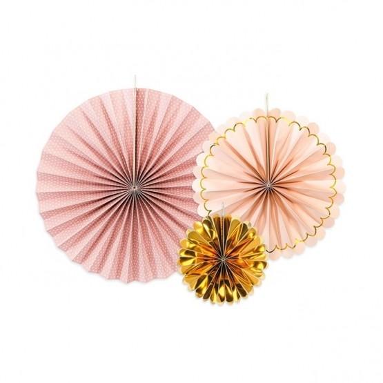 Dekorativne rozete roze zlatni mix 1/3