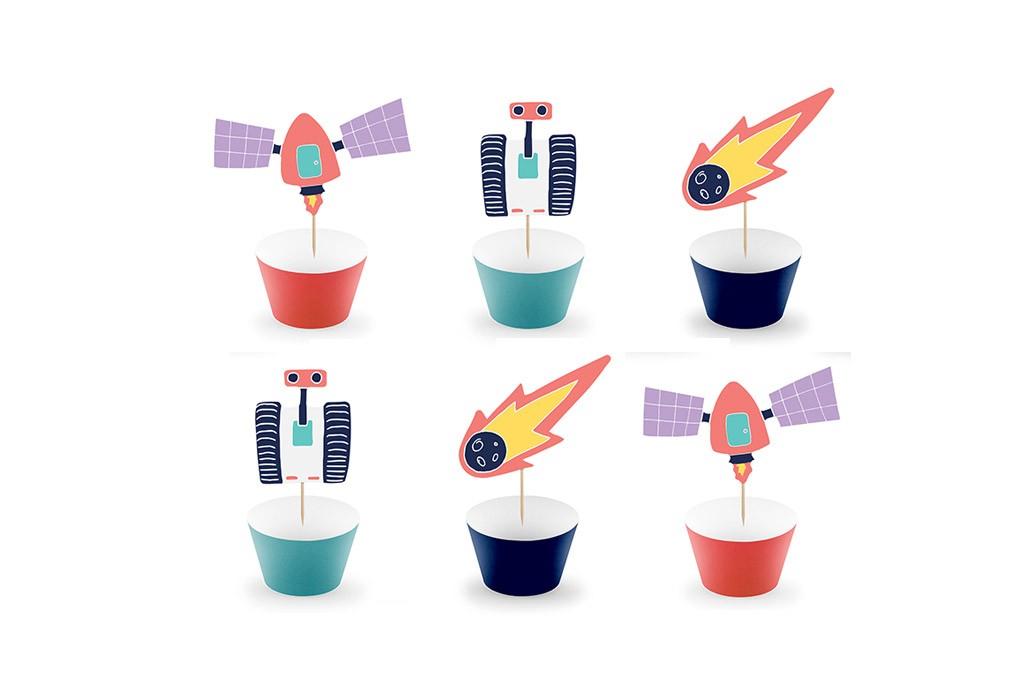 Toperi i korpice za cupcakes Svemir - 6 kom
