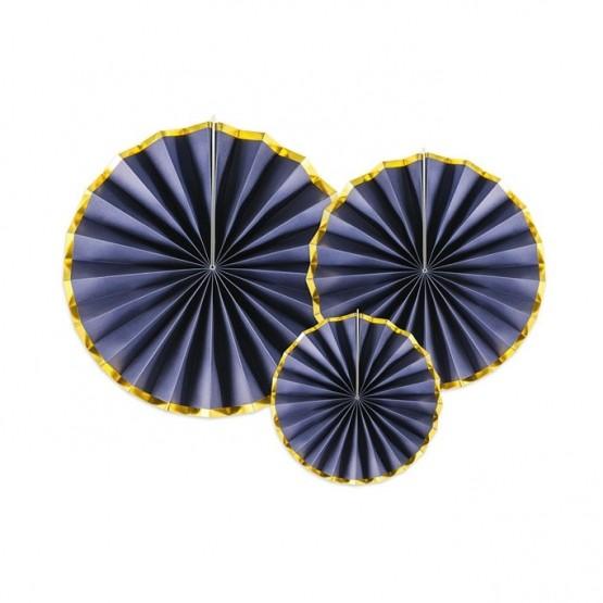Dekorativne rozete teget sa zlatnom ivicom - 3 kom