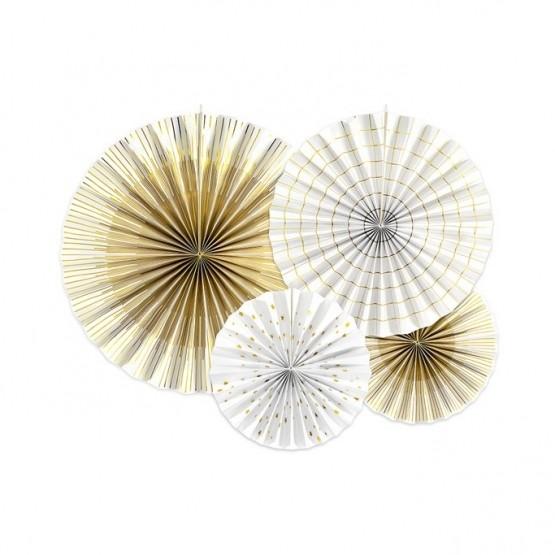 Dekorativne rozete belo zlatni mix 1/4