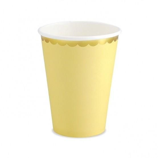 Čaše žute sa zlatnom ivicom 260ml - 6 kom