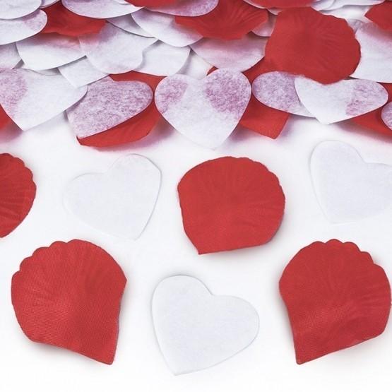 Top sa konfetama bela srca i ružine latice – 30cm