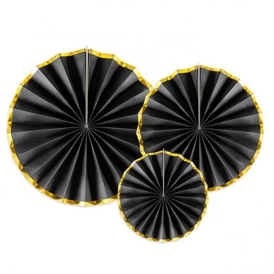 Dekorativne rozete crne sa zlatnom ivicom - 3 kom