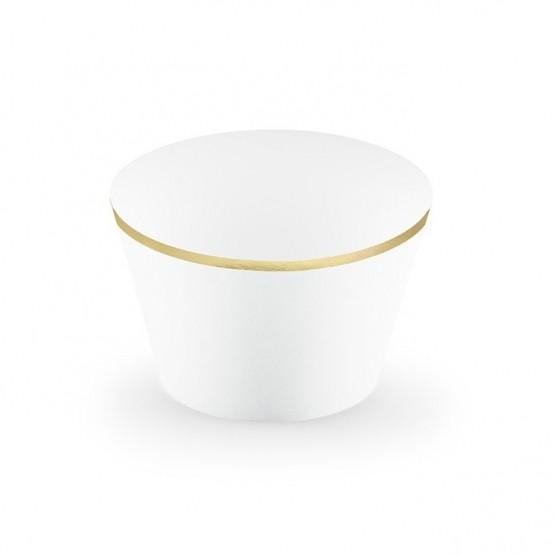 Korpice za mafine bele sa zlatnom ivicom - 6 kom