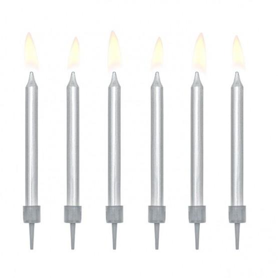 Rođendanske svećice srebrne - 6 kom