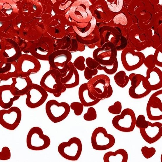 Konfete srca - metalik crvena