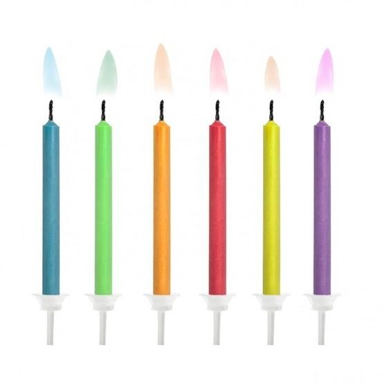 Rođendanske svećice plamen u boji - 6 kom