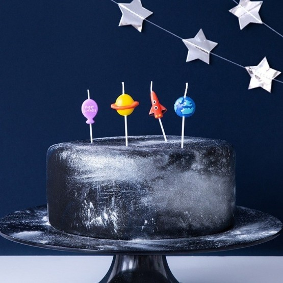 Rođendanske svećice svemir - 4 kom