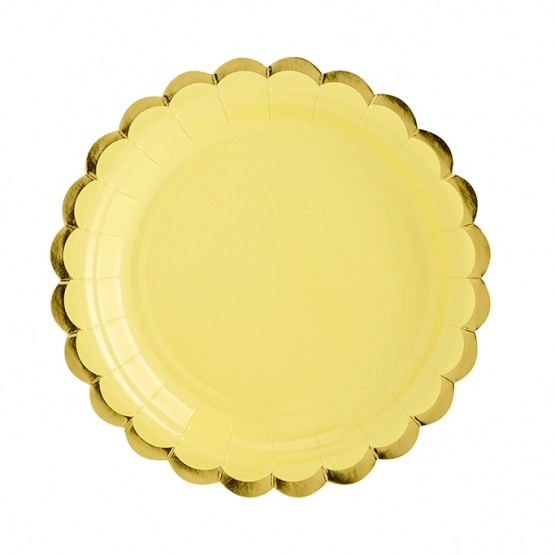 Tanjiri žuti sa zlatnom ivicom 18cm - 6 kom