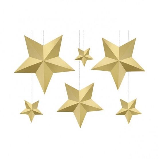 Viseća dekoracija zlatne zvezde - 6 kom