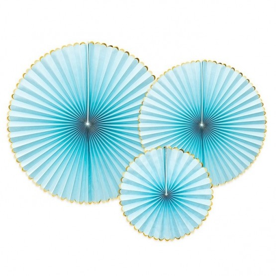 Dekorativne rozete svetlo plave - 3 kom