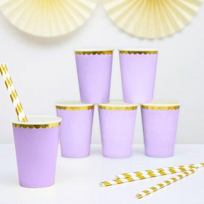 Čaše lavanda sa zlatnom ivicom 220ml - 6 kom