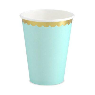 Čaše mint sa zlatnom ivicom 220ml - 6 kom
