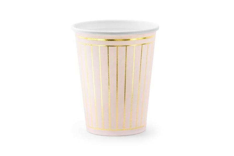 Čaše roze sa zlatnim linijama 260ml - 6 kom