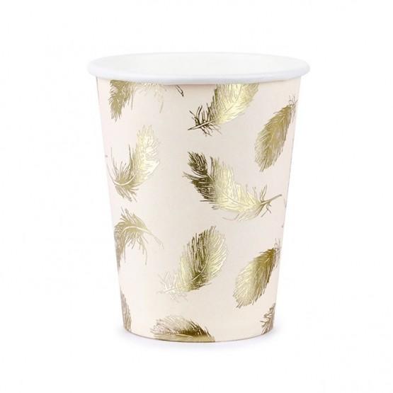 Čaše zlatni listovi 220ml - 6 kom