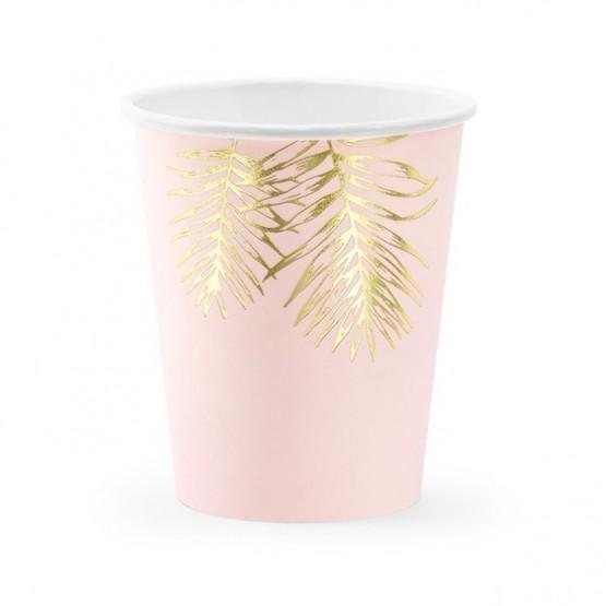 Čaše roze sa zlatnim listovima 220ml - 6 kom