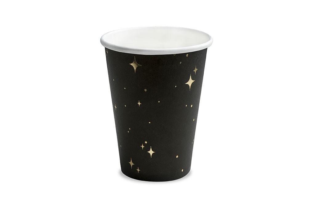 Čaše crne sa zlatnim zvezdama 260ml - 6 kom