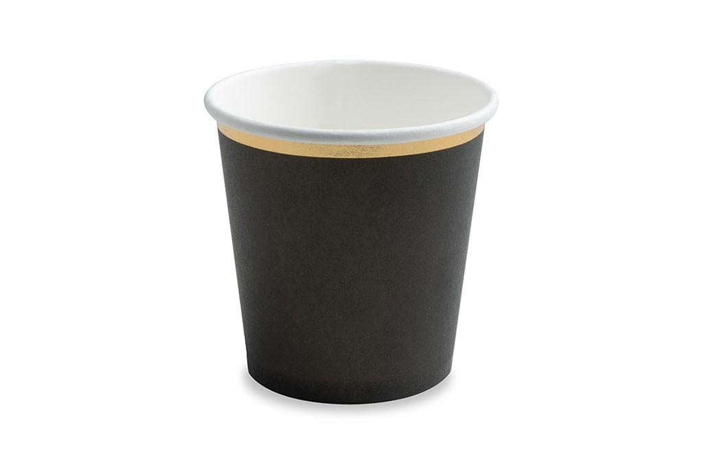 Čaše crne sa zlatnom ivicom 100ml - 6 kom