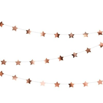 Baner zlatno roze zvezdice - 3.6m