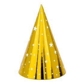 Kapice zlatne sa belim zvezdama - 6 kom