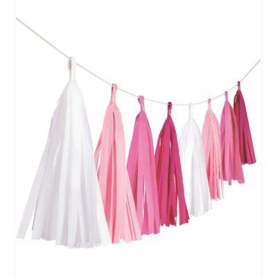 Girlande roze beli mix - 304cm