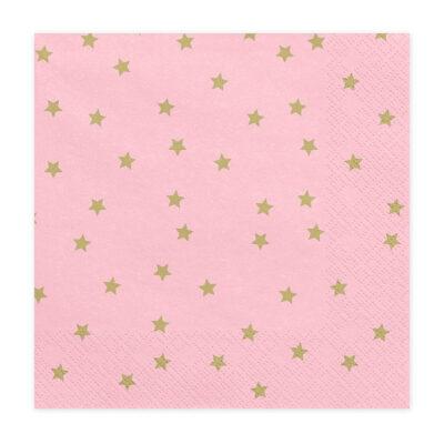 Salvete Roze sa zlatnim zvezdicama 33cm - 20 kom
